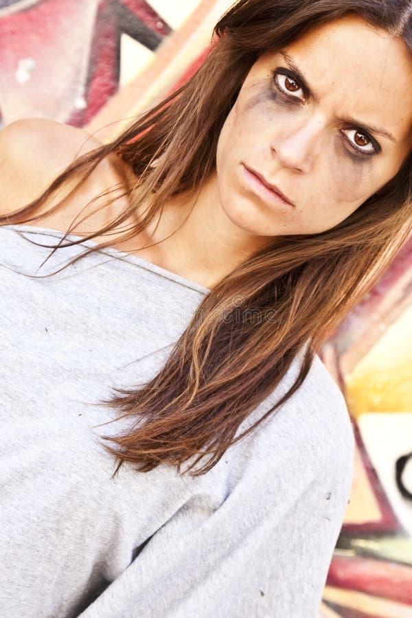 恼怒的纵向妇女 库存照片
