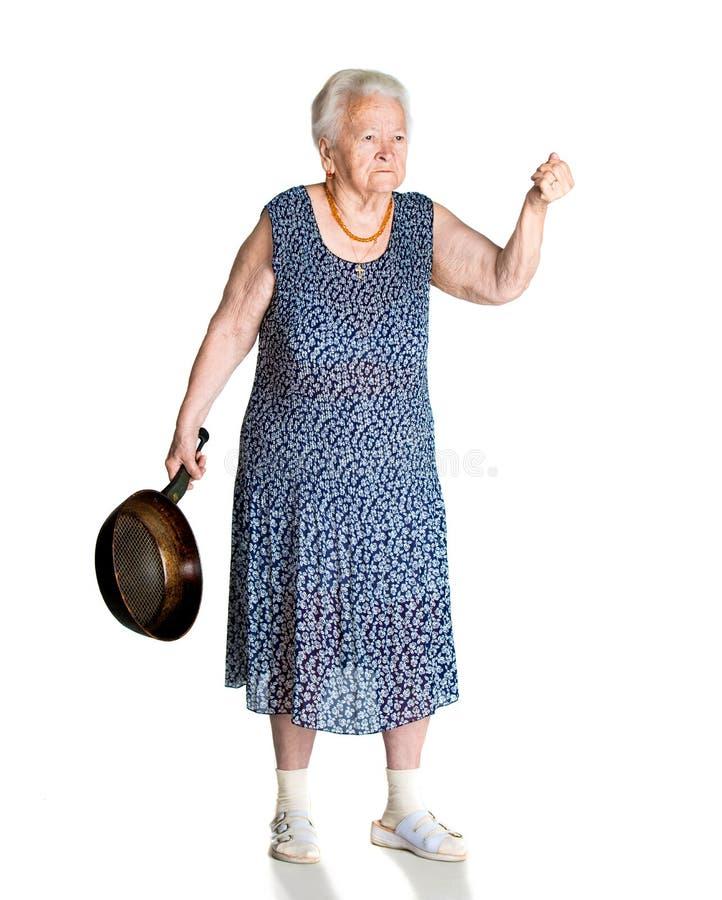 恼怒的老妇人 免版税库存照片