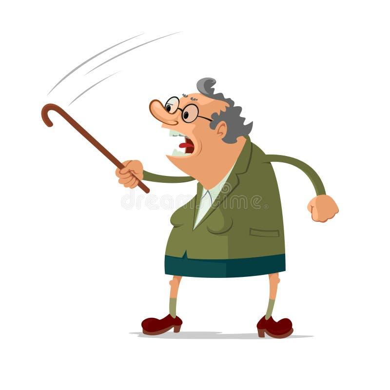 恼怒的老妇人 库存例证