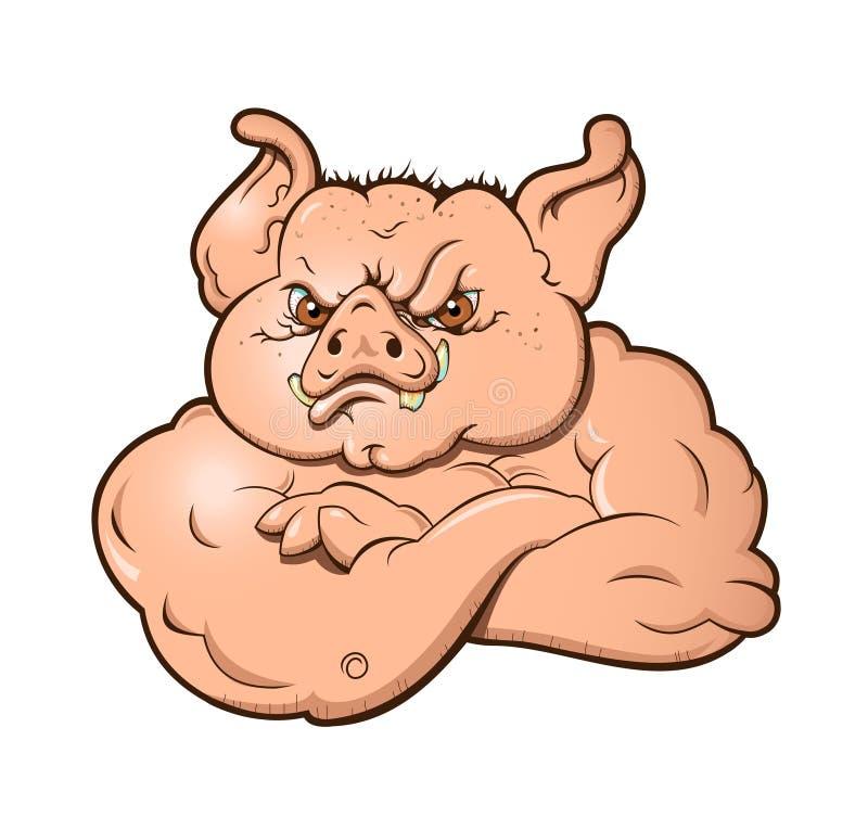 恼怒的肉猪 图库摄影