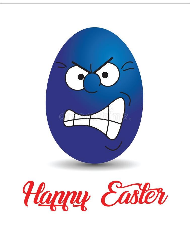 恼怒的蓝绿色复活节彩蛋 向量例证