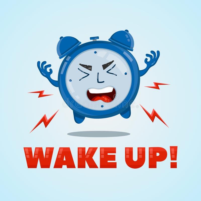 恼怒的闹钟平的传染媒介字符例证 唤醒的时间概念 向量例证
