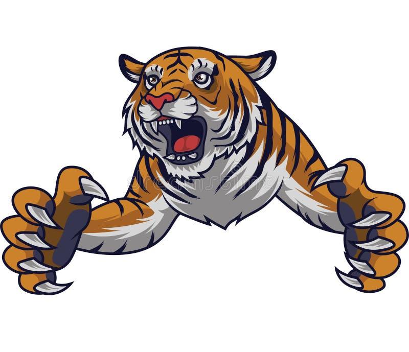 恼怒的飞跃老虎 向量例证