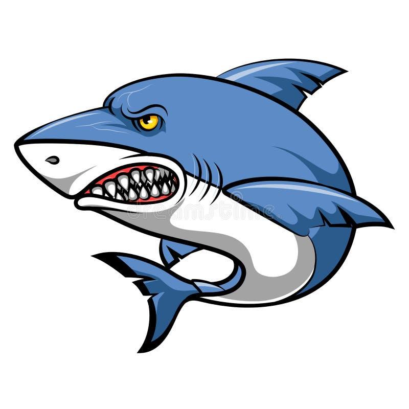 恼怒的鲨鱼动画片 库存例证