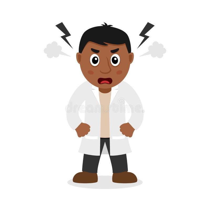 恼怒的黑人男性医生卡通人物 库存例证