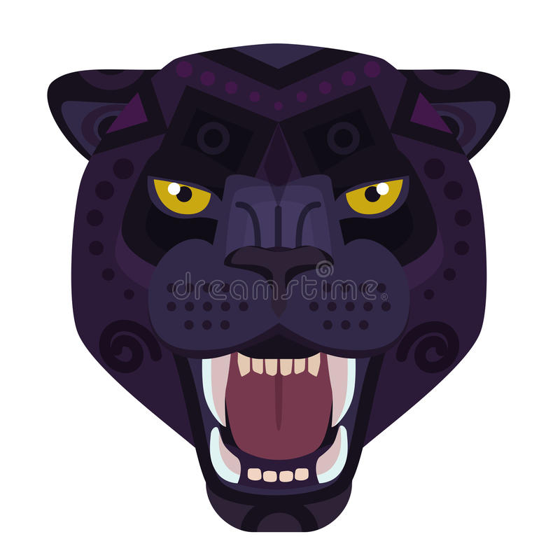 恼怒的黑豹头商标 狂放的猫传染媒介装饰象征 皇族释放例证