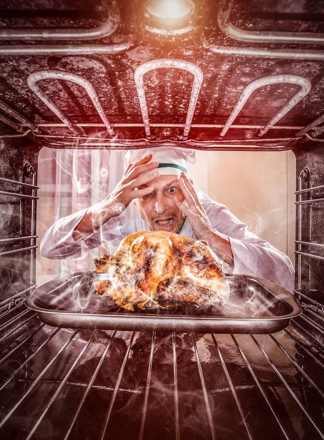 恼怒滑稽的厨师使为难和 失败者是命运! 图库摄影