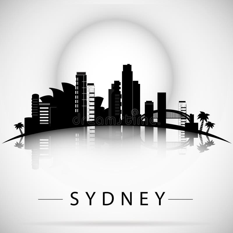 悉尼与反射的市地平线 印刷设计 向量例证