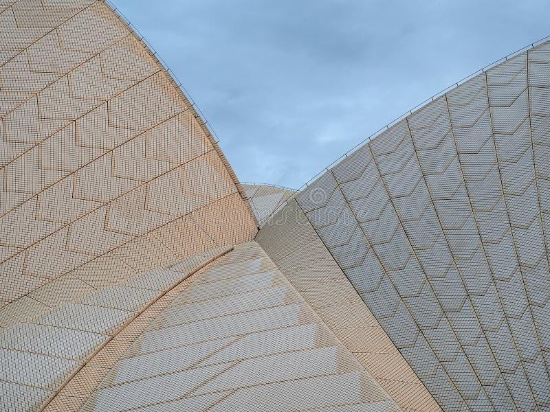 悉尼歌剧院,铺磁砖的屋顶细节 库存图片