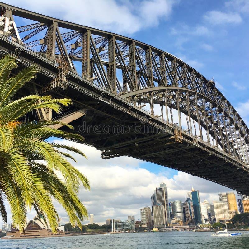 悉尼港桥侧视图  库存照片