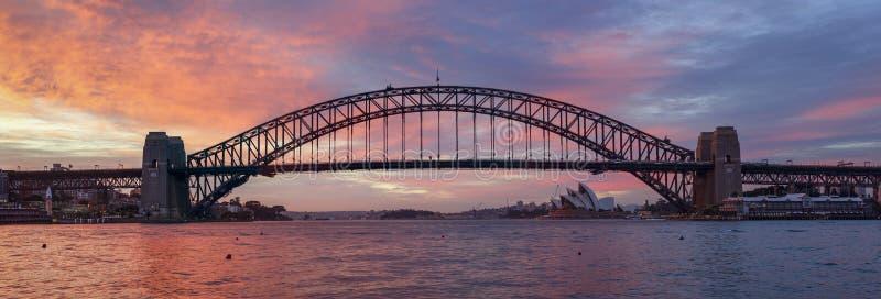 悉尼港桥全景 免版税图库摄影