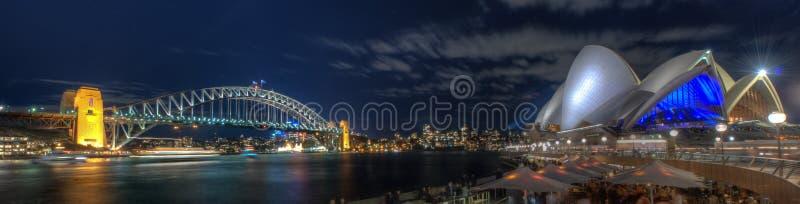 悉尼港桥和歌剧院在Night之前 免版税库存照片