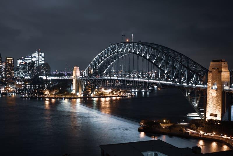 悉尼港桥夜光 图库摄影