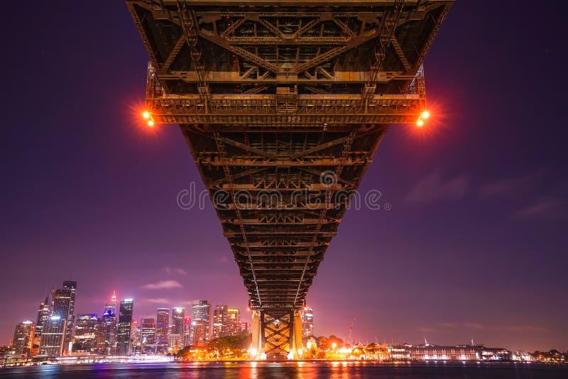悉尼港桥是钢通过曲拱桥梁  库存照片