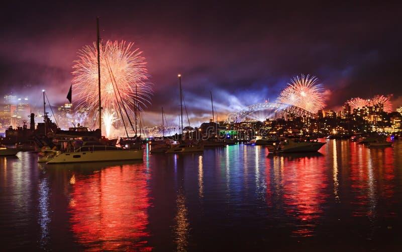 悉尼烟花海军红色球 库存照片