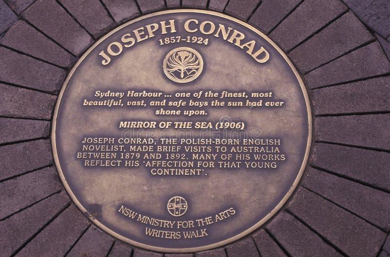 悉尼由小说家约瑟夫・康拉德,通报的港口的描述 免版税图库摄影