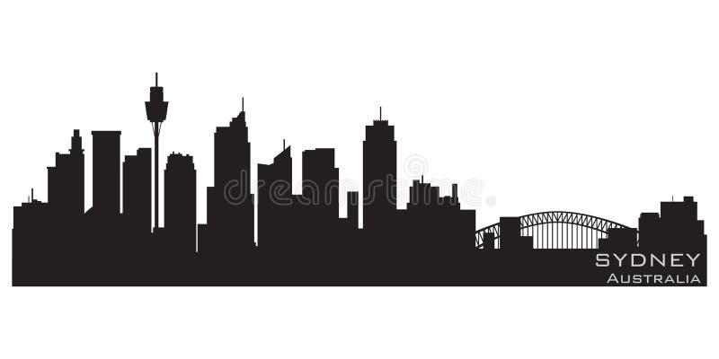 悉尼,澳大利亚市地平线 详细的传染媒介剪影 皇族释放例证
