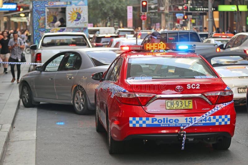 悉尼,澳大利亚-警察干预 免版税库存照片