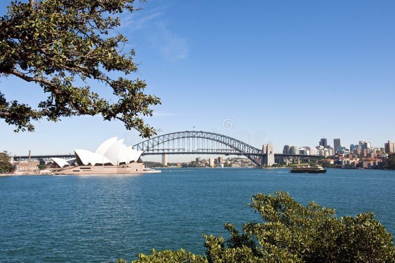 悉尼-港口桥梁和歌剧院 免版税库存照片