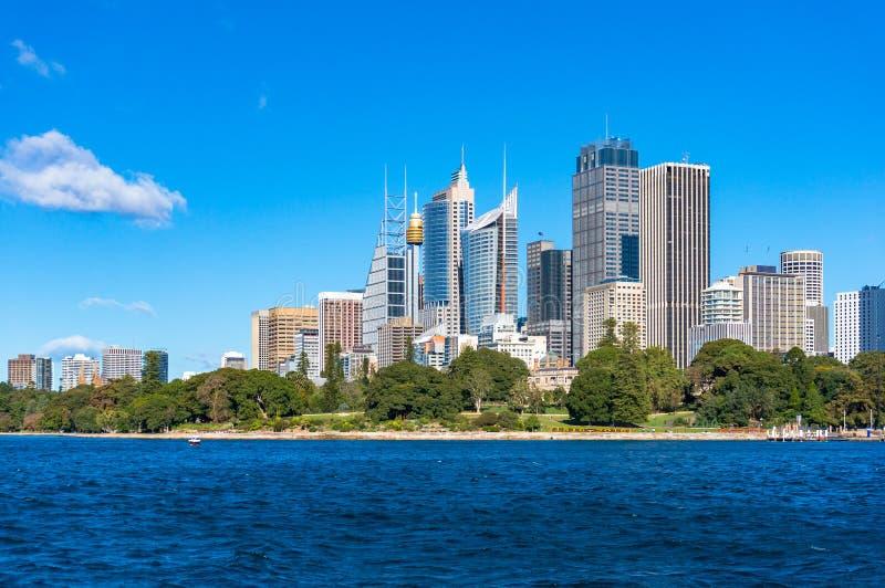 悉尼CBD中心商务区都市风景在晴天 库存图片