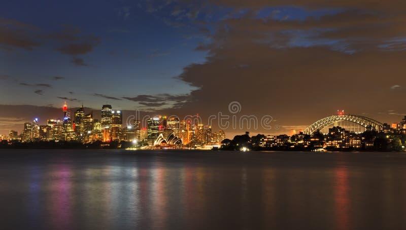悉尼CBD Cremorne黄昏全景 库存照片