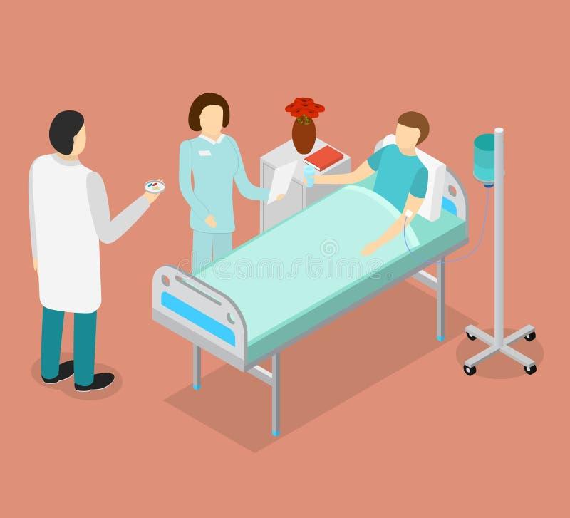 患者在床和医生或医护人员等轴测图上 向量 皇族释放例证