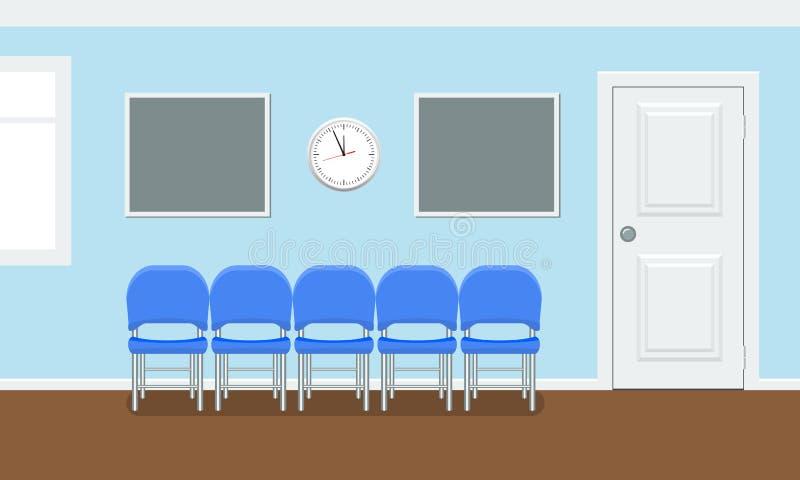 患者的候诊室在牙齿办公室 口腔医学概念的内部大厦 在平的样式的传染媒介 皇族释放例证