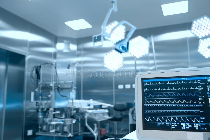 患者的重要标志监视在外科屋子 库存图片