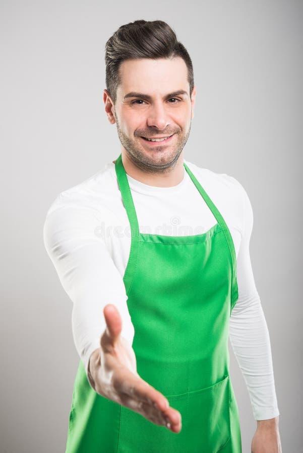 悦目超级市场雇主提供的手震动 库存照片