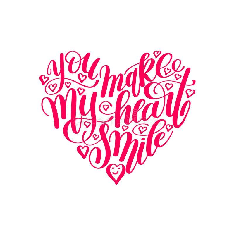 您做我的心脏微笑手写的书法字法行情 向量例证