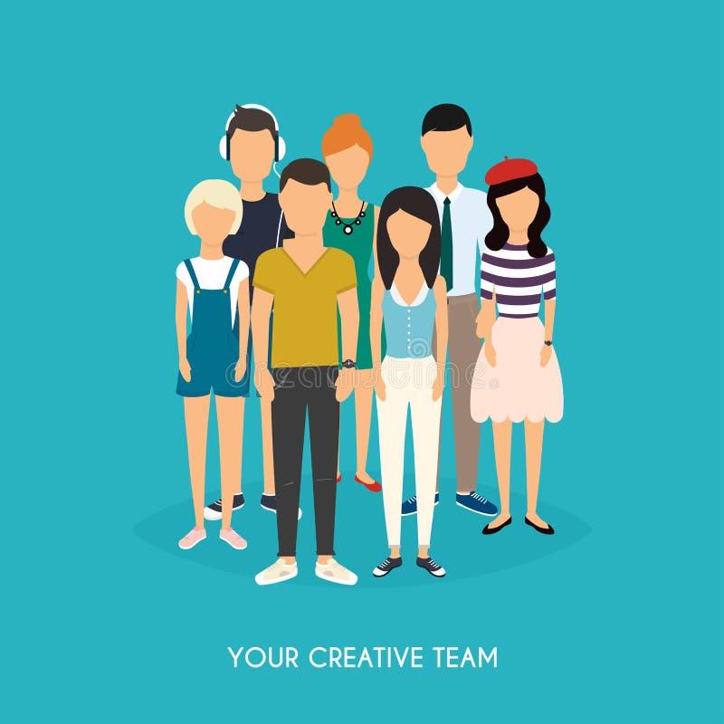 您创造性的队 企业咖啡夫人人扩音机小组 配合 3d网络照片回报了社交 皇族释放例证