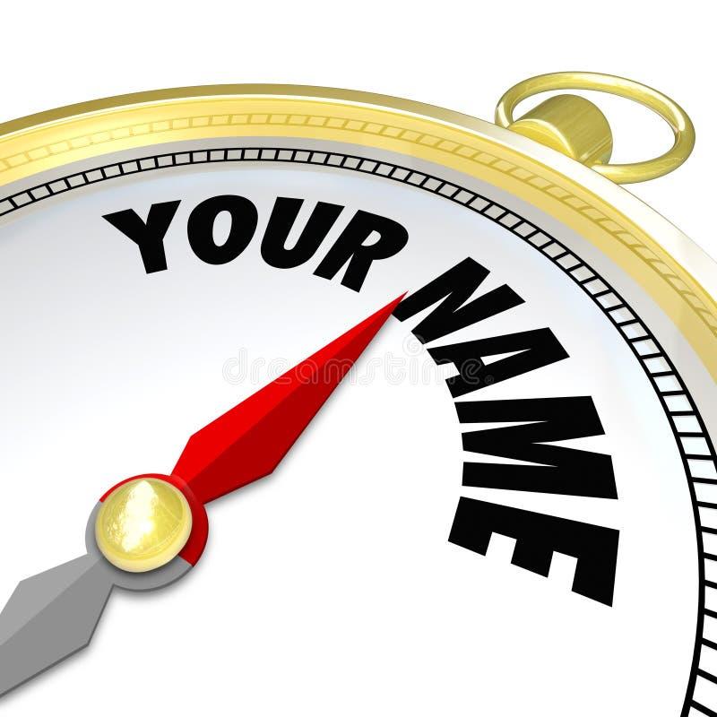 您名字金黄指南针指挥选择您 向量例证
