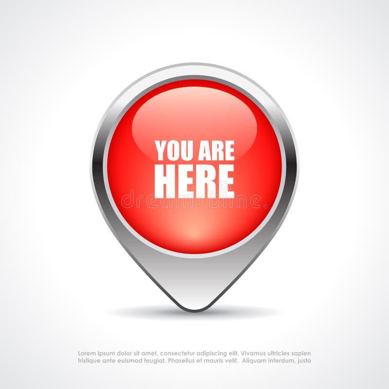 您在这里地图标志 库存例证