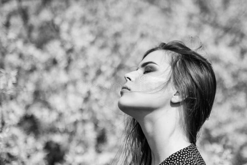 您很美丽 俏丽的妇女skincare 象自然的女孩 自然美人构成 头发时尚 夏天开花 免版税库存照片