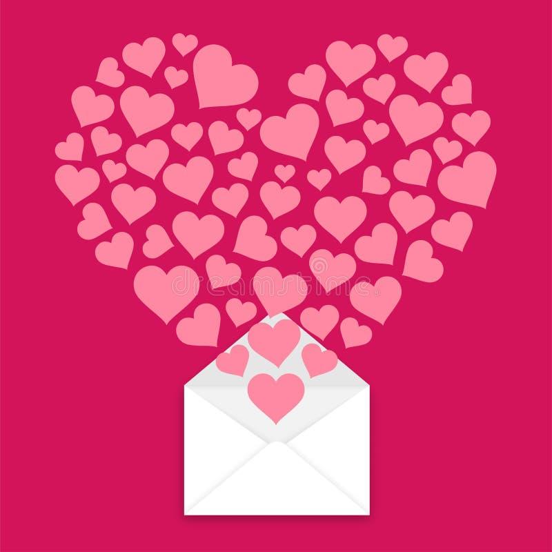您得到了邮件概念想法华伦泰心脏从在粉色背景隔绝的邮件例证突然出现的爱,有空间的 皇族释放例证