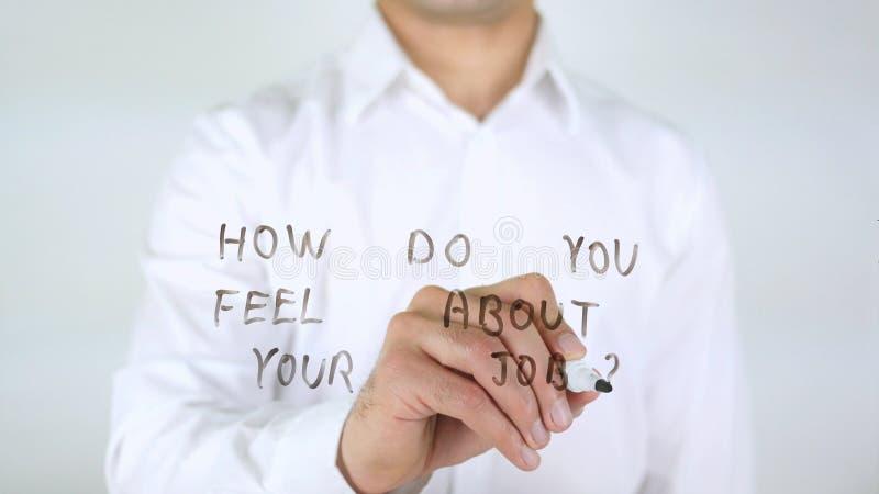 您怎么感觉关于您的工作?在玻璃的商人文字 免版税库存照片