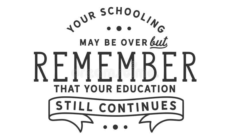 您教育也许在,但是记得您的教育仍然继续 皇族释放例证