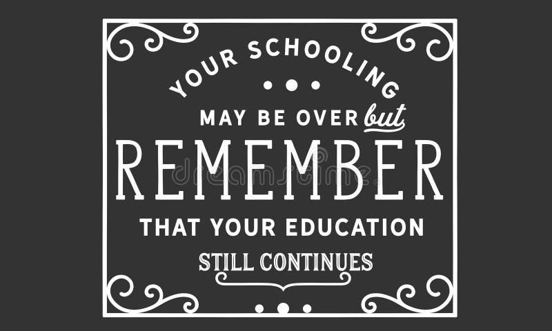 您教育也许在,但是记得您的教育仍然继续 库存例证