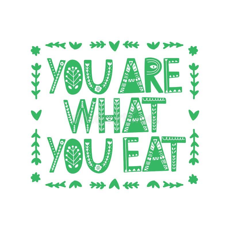 您是什么您吃 r 关于健康吃的行情 对海报、T恤杉,明信片等 皇族释放例证