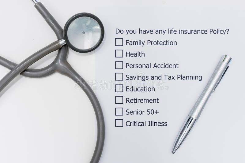您是否有任何人寿保险政策?它回答的` s A问题 库存图片