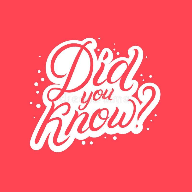 您是否知道?手书面字法 向量例证