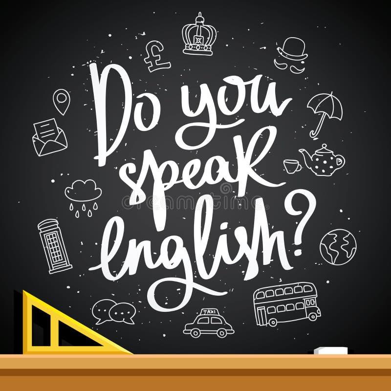 您是否讲英语?时兴的书法 向量例证