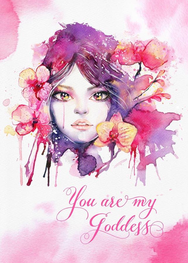 您是我的女神-与水彩花花公子的贺卡模板 库存例证