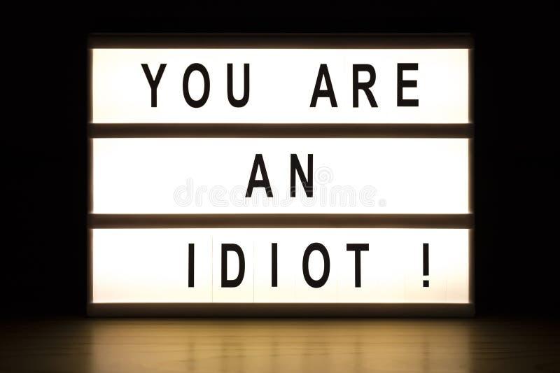 您是蠢货灯箱标志板 库存例证