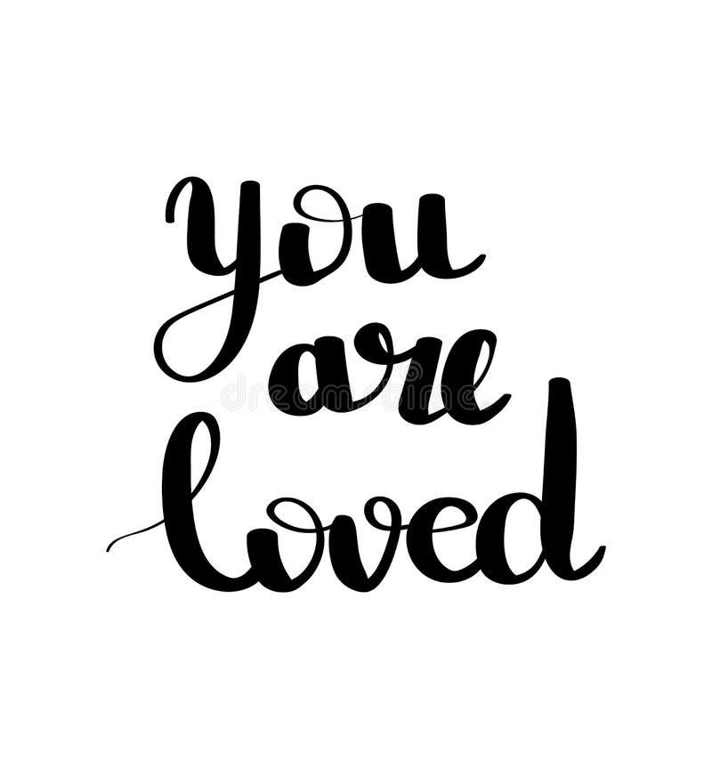 您是被爱的手拉的例证 浪漫行情手写的华伦泰祝愿假日贺卡 手写的信函 皇族释放例证