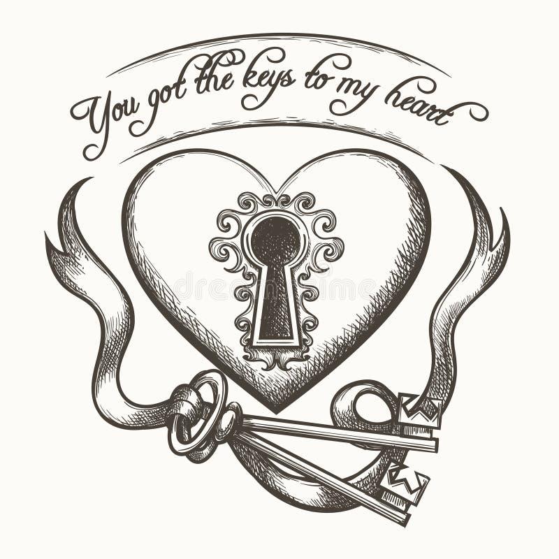 您有钥匙我的与在白色背景隔绝的丝带的心脏葡萄酒手拉的传染媒介例证 皇族释放例证