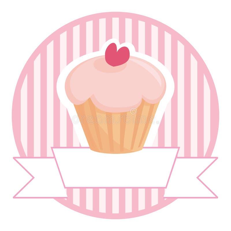 您杯形蛋糕桃红色安排文本的白色 库存例证