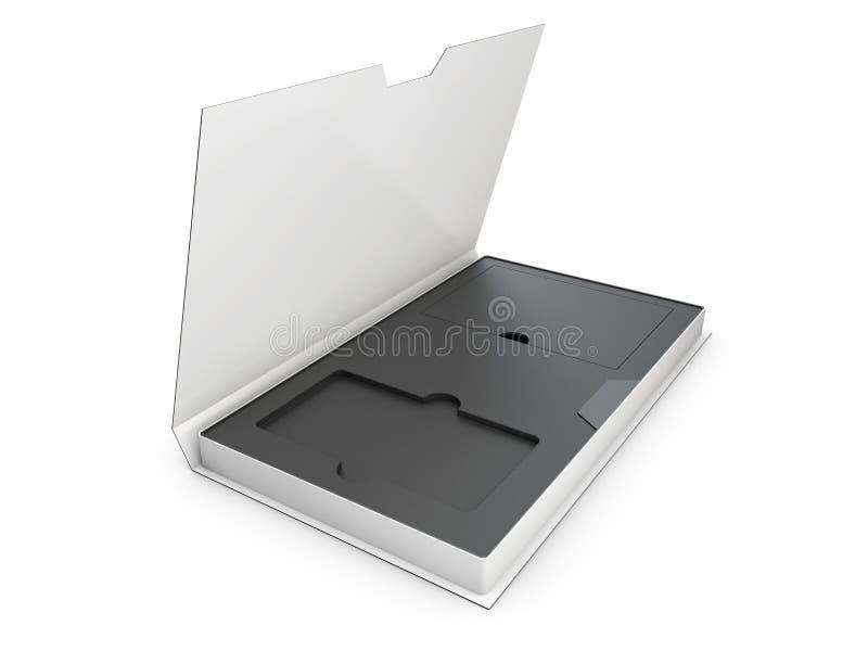 您的产品3D例证的被打开的黑白现代软件包箱子 皇族释放例证
