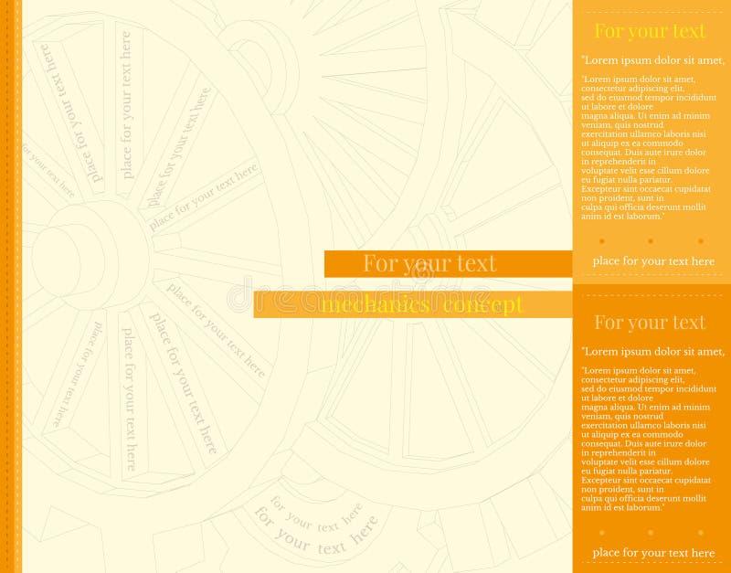 您的企业增进艺术品的抽象链轮黄色背景 库存例证