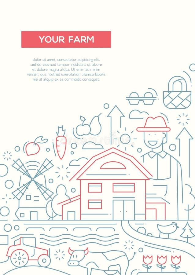 您的农场-排行设计小册子海报模板A4 向量例证
